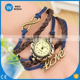 2016 Fashion & casual high quality Cow Leather Strap Casual Women Love Pendant Vintage Quartz Dress Watches VW006