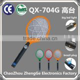 QX704G-1 hot rechargeable electric mosquito swatter fly swatter with brazil market plug