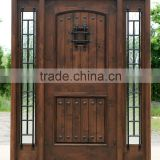 high quality solid wood double entry door iron door with Sidelights