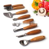 Top Quality 7-Piece Kitchen Fruit & Vegetable Gadgets Tools Set With Bamboo Handle, Pizza Cutter, Cheese Grater, Can opener