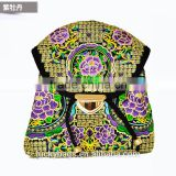 High quality girls travel bags peony embroidery bakpack national wind backpack