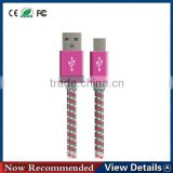 Wholesale High-speed braided woven nylon charging data micro usb cable for samsung