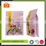 Zipper aluminum foil square stand up plastic Goji berry food packaging bag with window flat bottom quad seal bag
