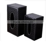 Chinese factories wholesale custom high-grade PU leather storage box, black tissue boxes