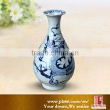 Wholesale 24cm high blue and white ceramic material porcelain flower vase for home decoration
