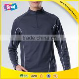 100% Polyester Half Zip Shirt Wholesale Sports Gym Quick dry Men's Running Fitness Half-zip Long Sleeve Shirts