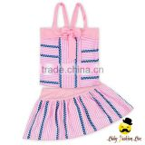 YZA-003 Yihong Fashion Style One Size Baby Stripe With Pink Dress Suit Kids Girls Bikini Swimwear