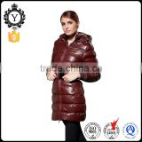 COUTUDI Wine Red Warm Italian Style Latest Design Fur Hoodies Padding Jackets For Winter Women