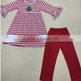 Wholesale bell sleeve stripe tunic dress top red casual trousers girls christmas outfits