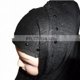 Headscarf For Women Latest Black Color Hosiery Cotton Diamond Stone Work Embroidery Hijab Dupatta (scarves scarf stoles hijab)