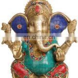 "Hindu GOD Ganesh Ganesha Blessed Statue 10.5"" Brass Stone Work Figure Hindu Art 5.24KG Good Luch charm LOrd Ganesha ethnic Decor"