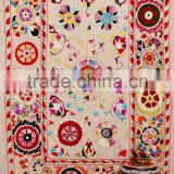 Indian Suzani Flower Embroidered Wall Decor Suzani Fabric Quilt Hanging Hippie Table Runner Tapestry