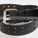 New Mens Double Holes Dress Casual Black Leather Belt 2Prong Roller Removable Buckle