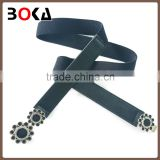 // 2.5cm black elastic and pu leather belt with // enamel alloy buckle for ladies elastic fabric belt //