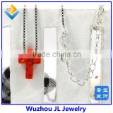 High Quality 925 Sterling Silver Synthetic red color Cross Opal gemstone Necklace Jewelry