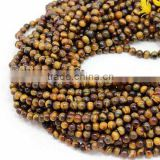 "Tiger Eye 100% Natural Roundlle Beads 13"" Inches 6MM Approx 1 String Good Quality On Wholesale Price."