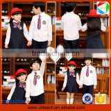 2015 Wholesale fashion uniform for school with badge boutique child clothes outfits all grades school uniform (ulik-015)