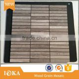 China Grey Wood Grain Mosaic,Rectangle Mosaic Tile