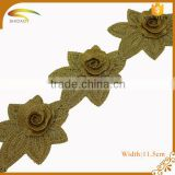 Cheap Polyester Material and Embroidered Technics gold metallic bridal lace trim
