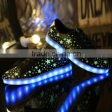 starry sky design white&black 7color led shoes