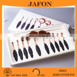 2016 hot sell toothbrush shape oval 10pcs rose gold makeup brush china factory wholesale