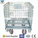 4 Layers Folding Wire mesh container galvanizing welding container,Metal storage cage container