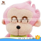 custom cute pink monkey plush toy new style sitting stuffed monkey toy with embroidery logo