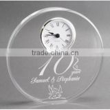 Very Nice Pure Clear Crystal Round Shape Clock For 10 Years Wedding Anniversary Souvenirs