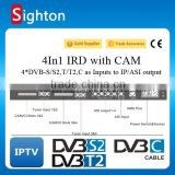 digital catv headend equipment 4 in 1 DVB-C/S/S2/T/T2 to ip asi cccam decoder ird