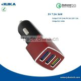 For iPhone and Android devices inner glow 5v 7200ma 3 port smart USB car charger with qualcomm 2.0