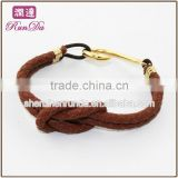 Gold Fish hook bronze leather bracelet with a knot jewelry wholesale