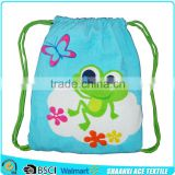 Factory supply cartoon frog printing towel cloth lovely drawstring style kids beach towel bag