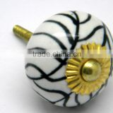 Ceramic Drawer Pull Knobs with Metal Fittings - Marble Finish