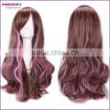 Cheap Hot Selling Brown with Pink Long Kinky Curly Wig