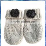 kids beige cable cotton knitted gloves mitten with crochet flower