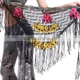 Black Belly Dance Tribal Hip Scarf with Roses in Different Colors from Wuchieal
