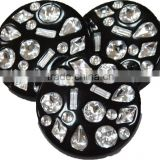 Bulk Black Round Plastic Buttons 25mm with Multiple Fancy Rhinestone