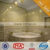HF JY13-P05A waterproof gold glass and white glass mosaic tile bathroom decor mosaic beauty bathroom wall tile stickers