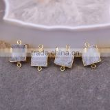 Gold Plated Square Natural Titanium AB Brazilian Galaxy Quartz Connector Beads, Druzy Gem stone Jewelry