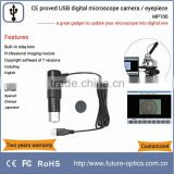 Affordable student microscope camera to capture and display sharp images of biology cell slide for teaching