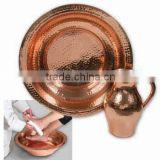 Spa Foot Soak Copper Hammered Bowl, Pedicure Bowl, Massage Bowl With Pitcher