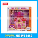 Zhorya Funny Mini Doll House Play Set Colorful Villa Toy Beautiful Doll House With Doll For Girls
