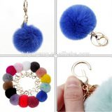 Chinese real rabbit fur ball keychain pom pom bag charm