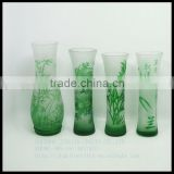 modern hand cut overlay single flower crystal glass vase/red green