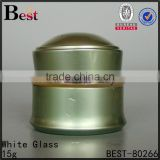 luxury aluminum jars 15g 30g empty green color aluminum skin care container China alibaba