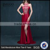 MGOO High Quality Satin Halter Long Dresses Diamond Split Leg Floor Length Pattern Plain Sexy Prom Dress 2072