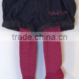 plum red dots pantyhose and black jean bloomer shorts