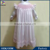 Newborn Baby Girls Cotton Frock Designs Smocked Bishop Dress Fashion Baby alibaba Express Pink Party Dresses