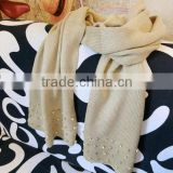 fashion design ladies knitted crystal beaded scarf