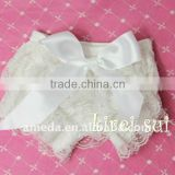 Baby White Lace Petti Panties Bloomers with White Bow